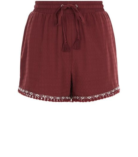 Dark Red Aztec Tape Fray Trim Shorts | New Look