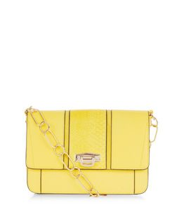 Yellow Panelled Chain Strap Shoulder Bag  | New Look