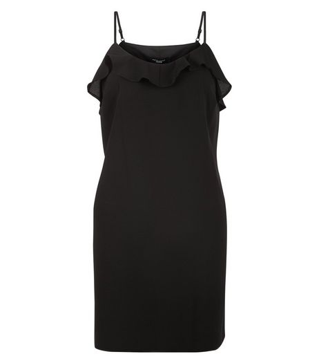 Petite Black Frill Slip Dress | New Look