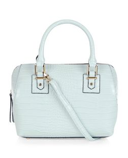 Pale Blue Croc Textured Bowler Bag  | New Look