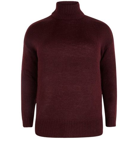 Curves Burgundy Funnel Neck Ribbed Jumper | New Look