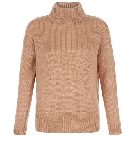 Petite Camel Ribbed Turtle Neck Jumper | New Look