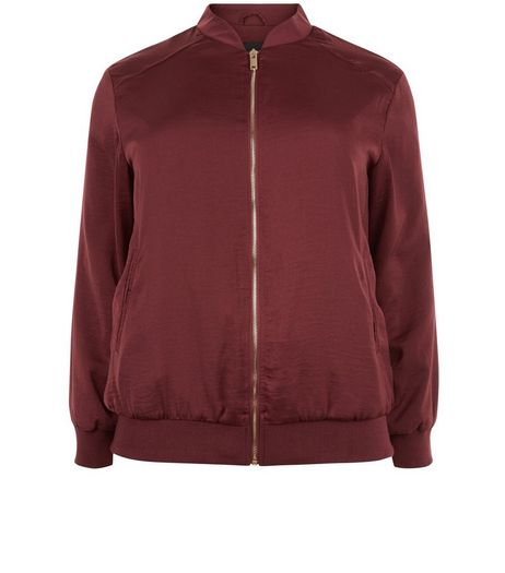 Curves Burgundy Sateen Bomber Jacket | New Look