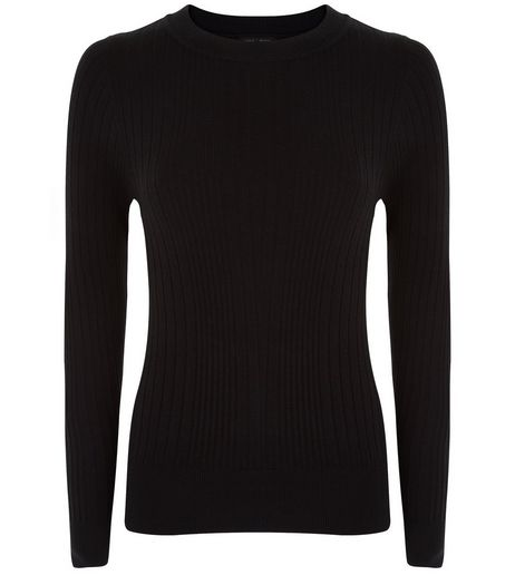 Petite Black Ribbed Long Sleeve Top | New Look