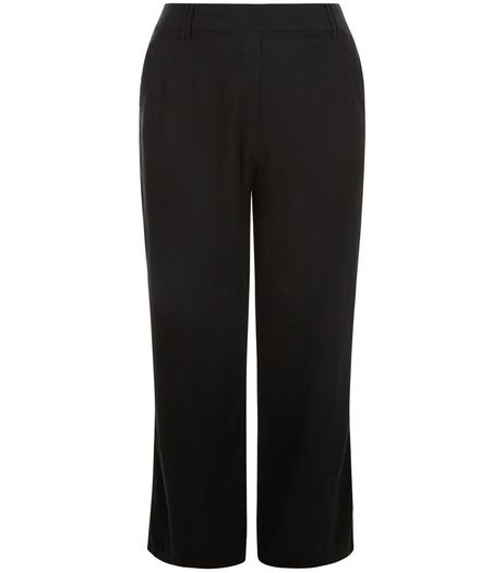 Curves Black Wide Leg Trousers | New Look