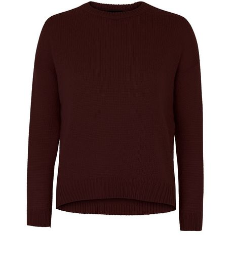Petite Burgundy Boxy Jumper | New Look