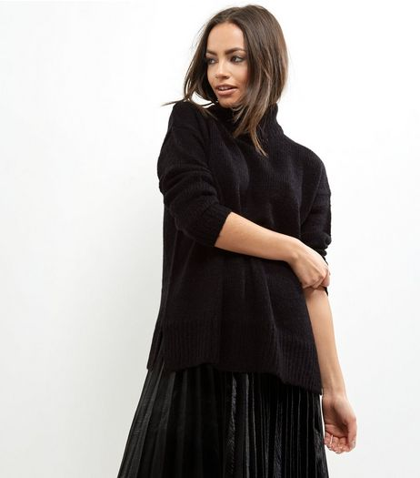 Tall Black Ribbed Turtle Neck Jumper | New Look