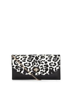 Black Leopard Print Curve Flap Clutch  | New Look