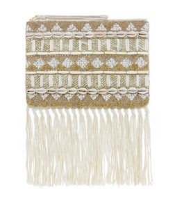 Cream Shell and Bead Embellished Tassel Hem Zip Top Clutch  | New Look