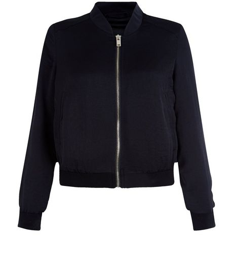 Petite Black Sateen Bomber Jacket  | New Look