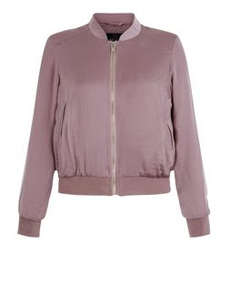 Petite Mink Sateen Bomber Jacket  | New Look