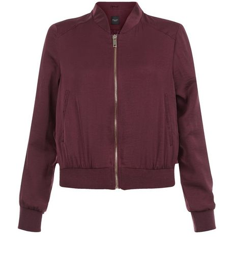 Petite Burgundy Sateen Bomber Jacket  | New Look
