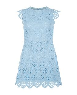 Petite Pale Blue Lace Skater Dress  | New Look