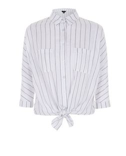 Petite White Stripe Tie Front Shirt | New Look