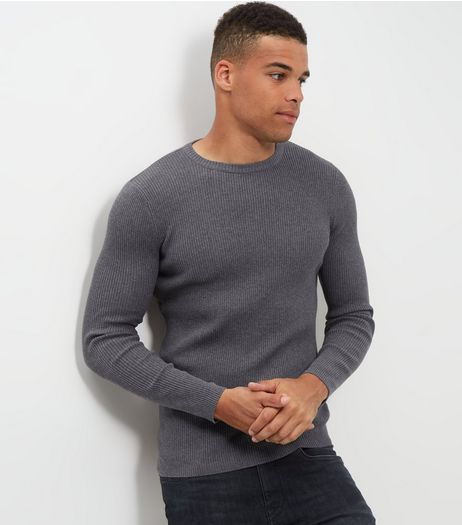 Dark Grey Cotton Ribbed Jumper | New Look