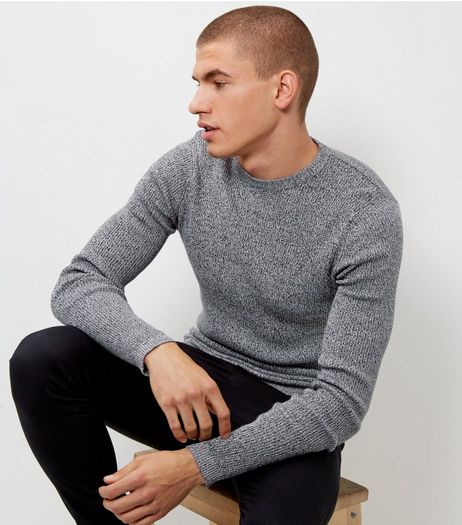 Black Speckled Cotton Ribbed Jumper | New Look