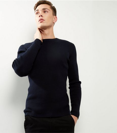 Navy Cotton Ribbed Jumper  | New Look