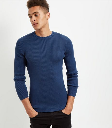 Blue Cotton Ribbed Jumper | New Look