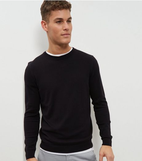 Black Cotton Crew Neck Jumper | New Look