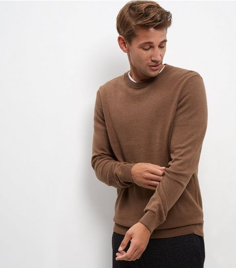 Light Brown Cotton Crew Neck Jumper | New Look