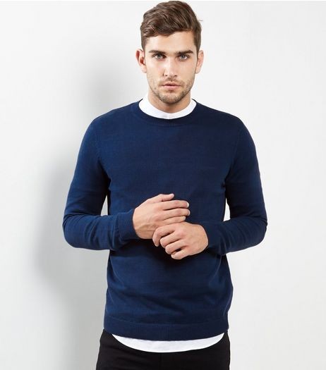 Blue Cotton Crew Neck Jumper | New Look