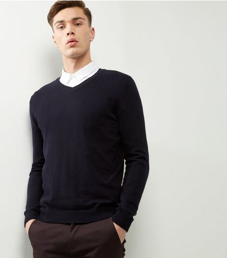 Black Cotton V Neck Jumper | New Look