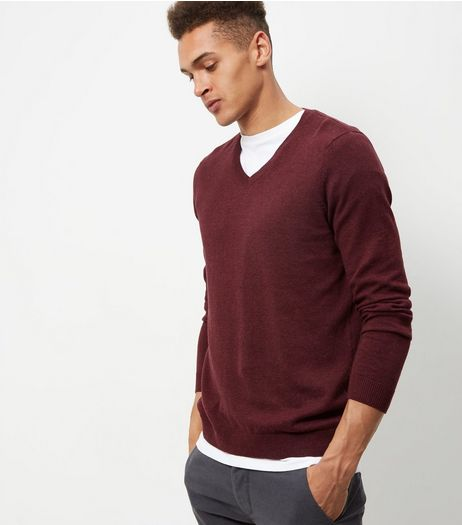 Burgundy Cotton V Neck Jumper | New Look