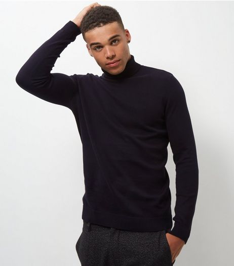 Black Cotton Roll Neck Jumper | New Look