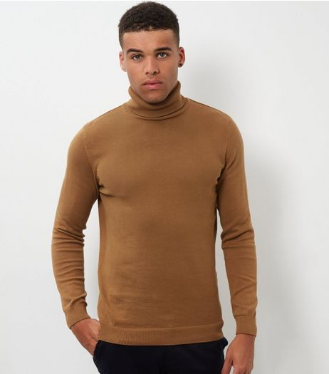 Camel Cotton Roll Neck Jumper | New Look