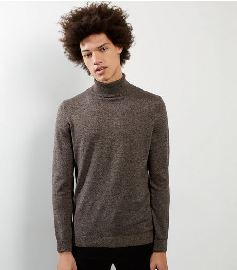 Brown Cotton Roll Neck Jumper | New Look
