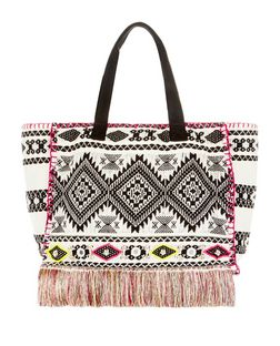 Multicoloured Aztec Stitch Beach Bag  | New Look