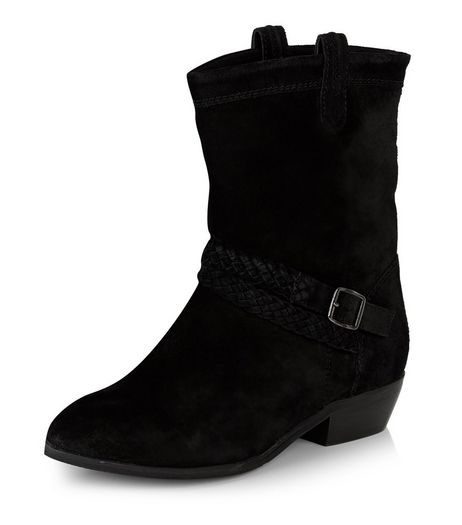 Black Leather Block Heel Buckle Boots  | New Look