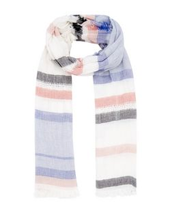 Blue Stripe Fringed Longline Scarf  | New Look