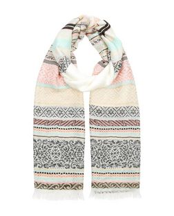 Multicoloured Stripe Jacquard Scarf | New Look
