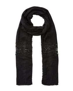 Black Crochet Panel Longline Scarf | New Look