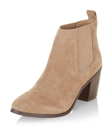 Light Brown Leather Block Heel Ankle Boots | New Look