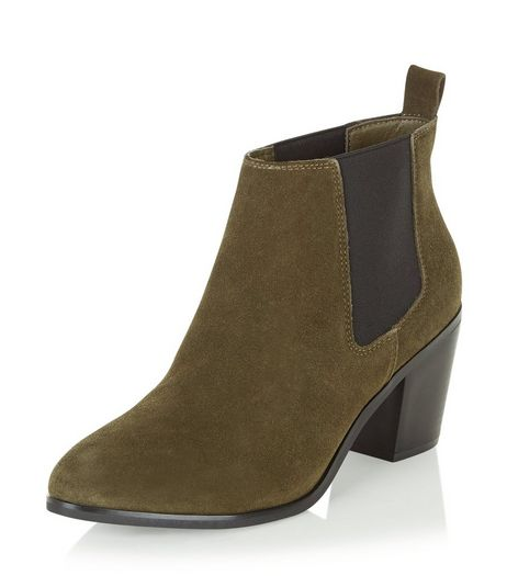 Green Leather Block Heel Ankle Boots | New Look