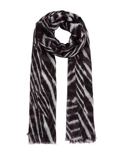 Black Zebra Print Longline Scarf | New Look