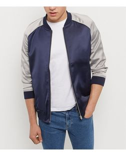 Navy Contrast Sateen Bomber Jacket | New Look