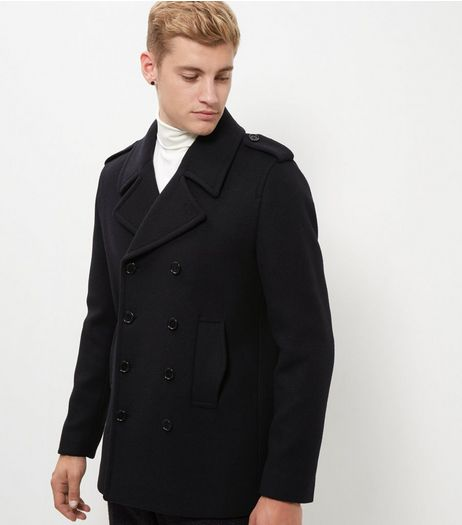 Navy Pea Coat  | New Look