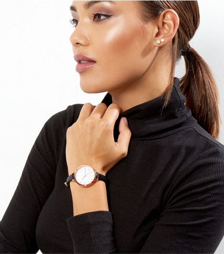 Black Oversized Skinny Strap Watch | New Look