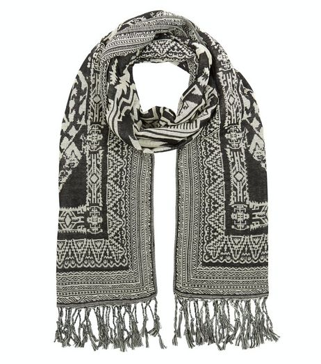 Black Abstract Print Jacquard Scarf | New Look