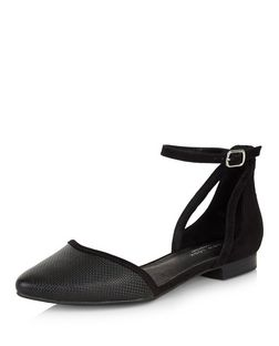 Black Comfort Cut Out Ankle Strap Pumps  | New Look