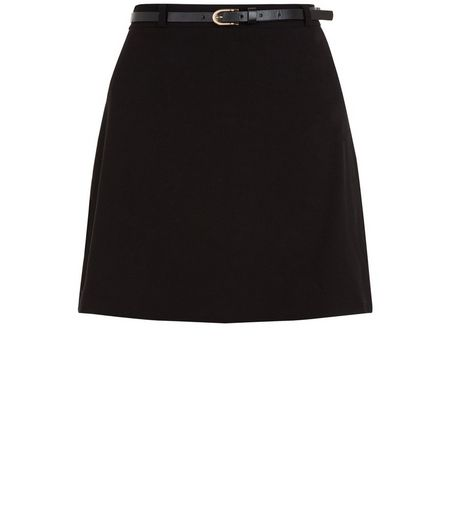 Teens Black Belted A-line Skirt | New Look
