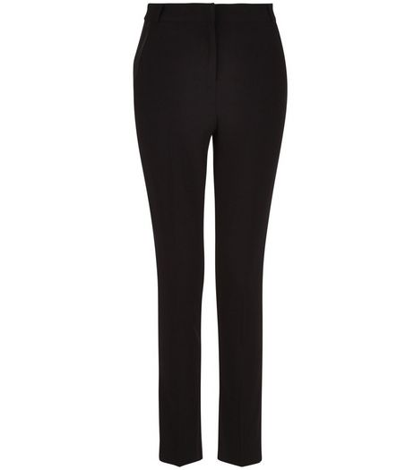 Teens Black Leather-Look Trim Trousers | New Look