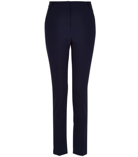 Teens Navy Leather-Look Trim Trousers  | New Look