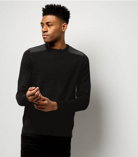 Black Textured Patch Jumper | New Look