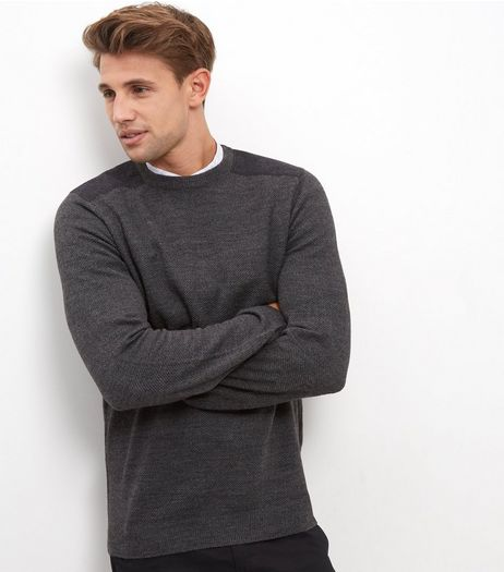 Dark Grey Textured Panel Long Sleeve Top | New Look