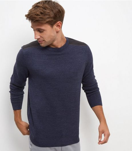 Navy Textured Panel Long Sleeve Top | New Look