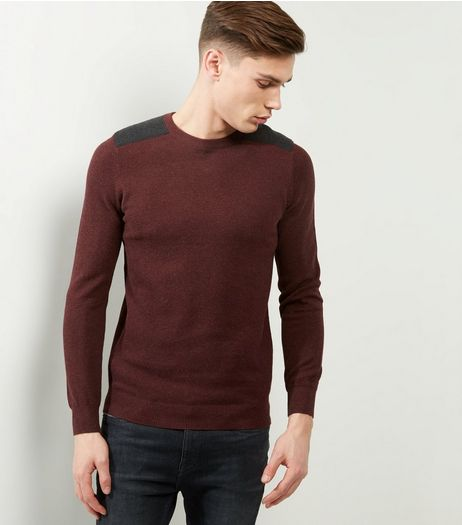 Burgundy Textured Patch Jumper | New Look